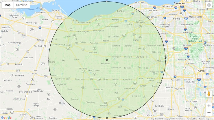 map with 25 mile radius
